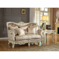 Blake Pearl White Traditional Loveseat With Crystal Tufted Back
