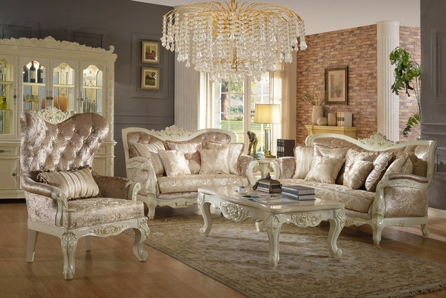 Blake Pearl White Traditional Style Sofa & Loveseat With Crystal Tufted Back