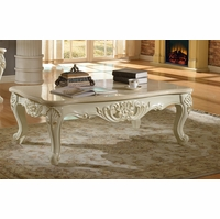 Blake Pearl White Traditional Marble Coffee Table With Gold Accents