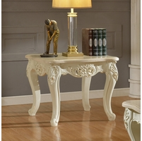 Blake Pearl White Traditional Marble End Table With Gold Accents