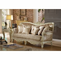 Blake Pearl White Traditional Sofa With Crystal Tufted Back