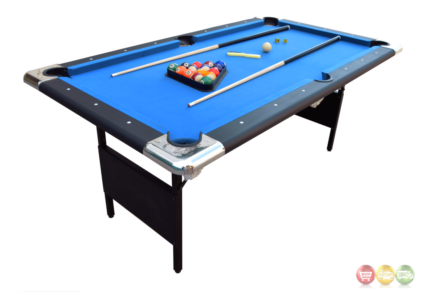 Blue Fairmont 6 Ft Portable Folding Pool Table W Carrying