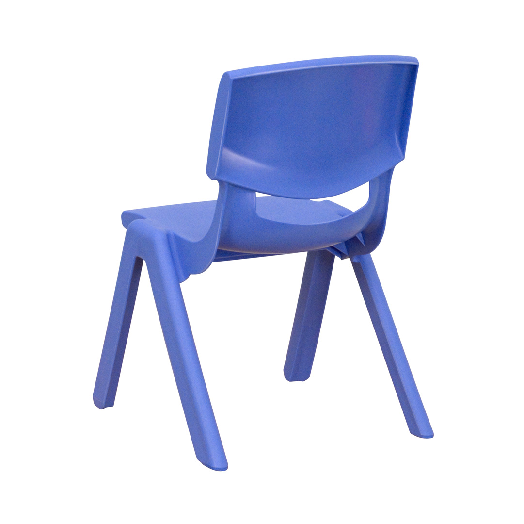 Blue plastic stackable school chair with 105 inch seat for Blue plastic chair