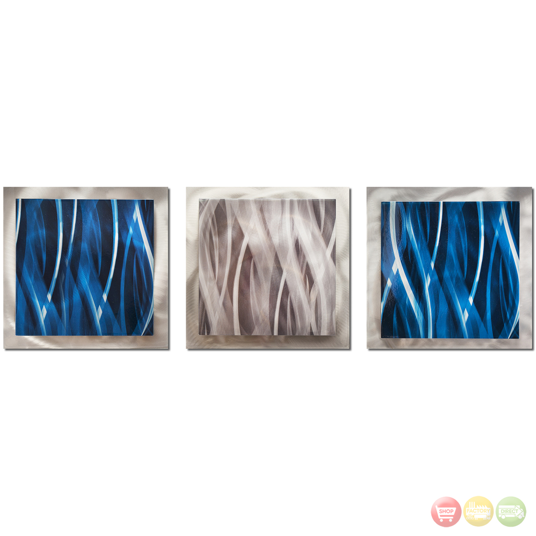 Blue Silver Essence Layered Modern Metal Wall Art L0158