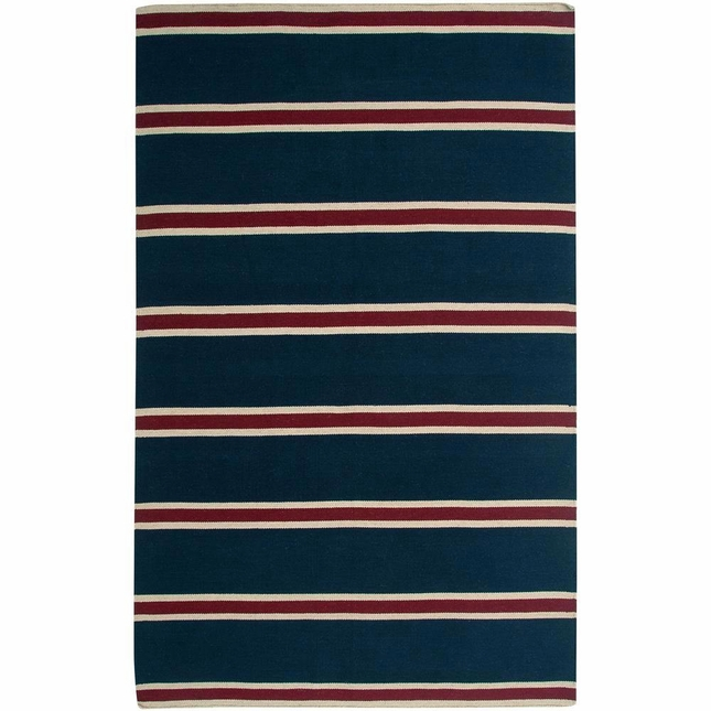 Rizzy Rugs Blue Stripes Hand Woven Dhurrie Area Rug Swing SG3044