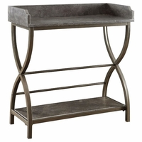 Bluestone Accent Table with Bronze Metal Base