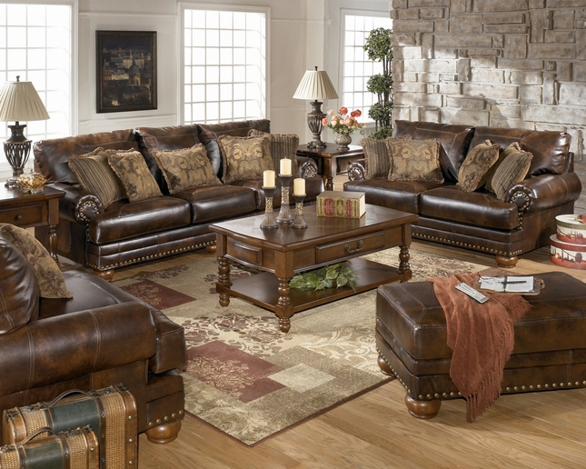 Bonded Leather Antique Brown Sofa & Loveseat Living Room Set by Ashley