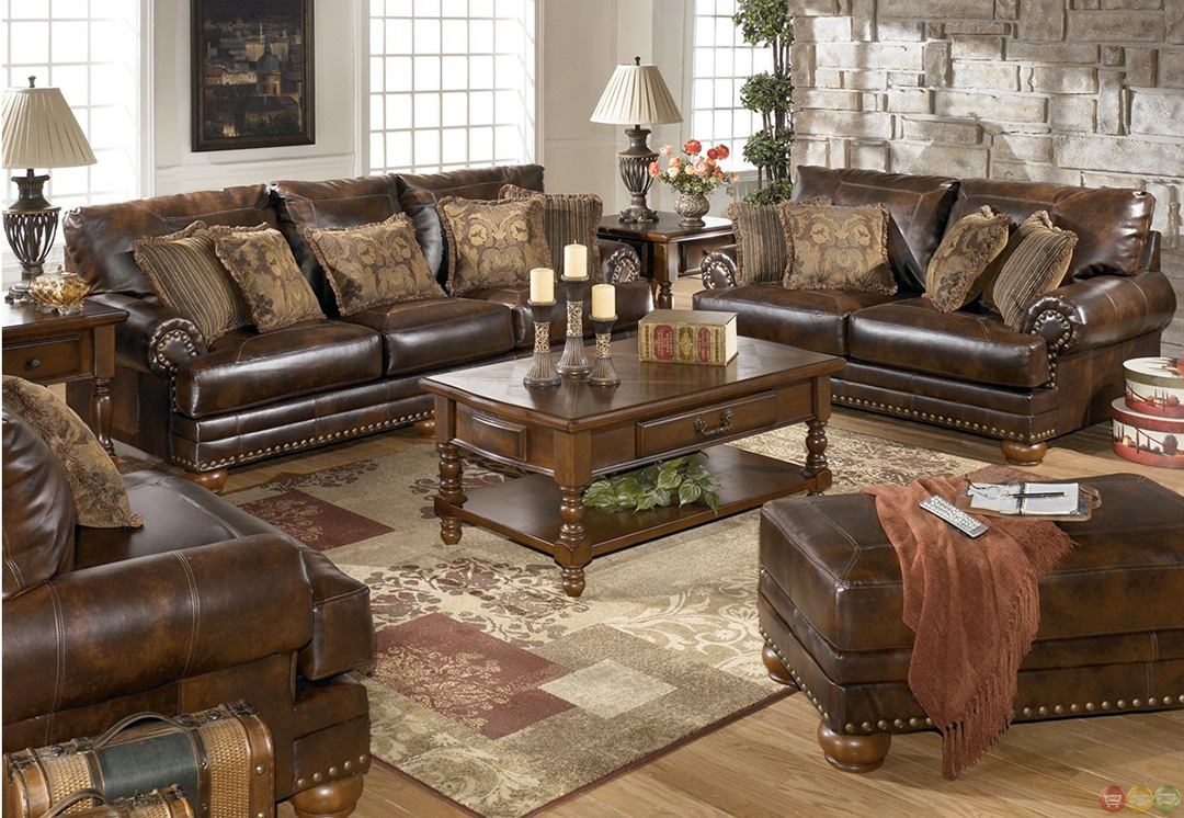 brown bonded leather sofa loveseat living room set pillows nailheads
