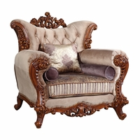 Bordeaux Carved Wood Beige Tufted Chair With Lavender Accents