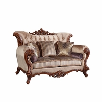 Bordeaux Carved Wood Beige Tufted Loveseat With Lavender Accents