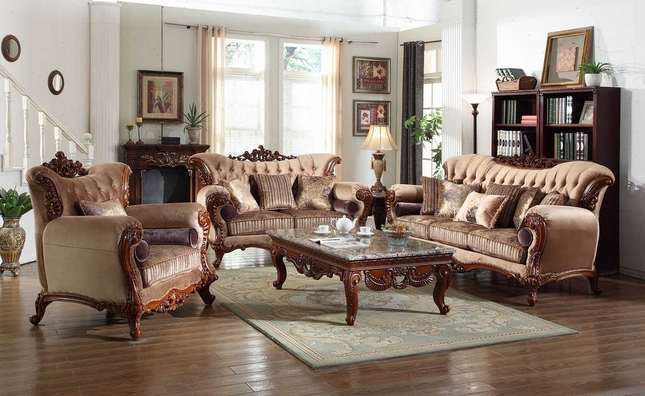 Bordeaux Carved Wood Beige Tufted Sofa & Loveseat Set With Lavender Accents