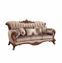 Bordeaux Carved Wood Beige Tufted Sofa With Lavender Accents