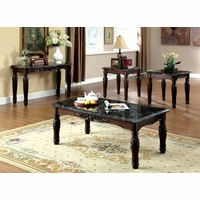 Brampton Traditional Espresso Accent Tables with Faux Marble Table Top