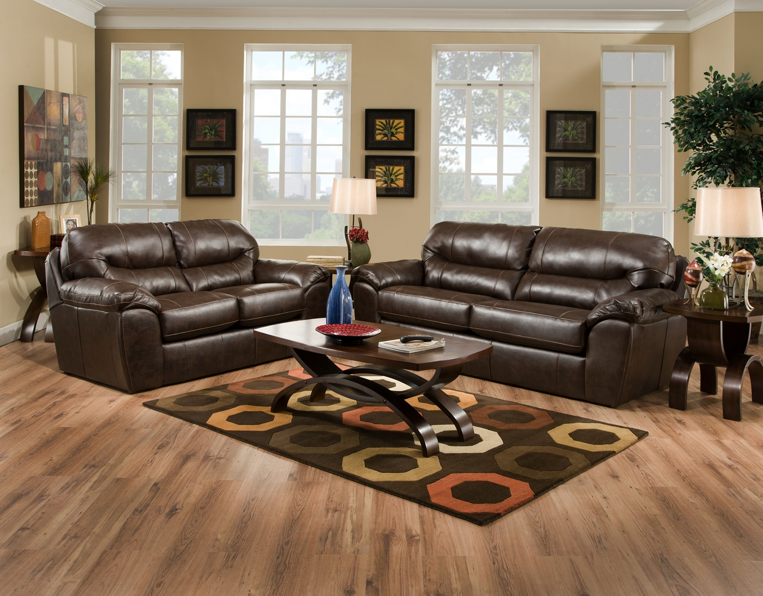 Brantley Java Brown Leather Like Fabric Casual Living Room