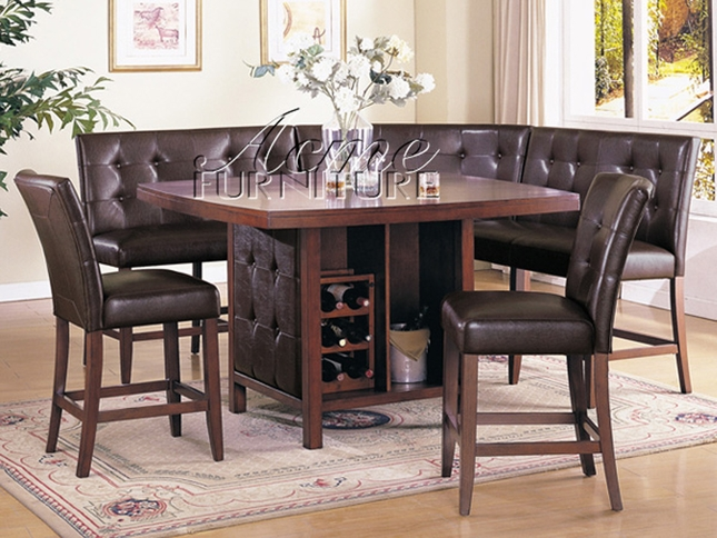 piece dining room set counter height table corner seating 2 chairs