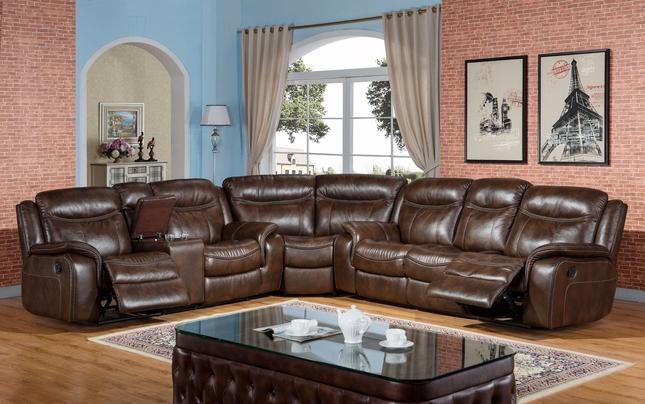 Braylon Classic Black Reclining Sectional In Premium Leather Air Fabric