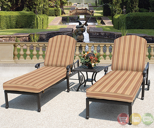 Brentwood 3pc Cast Aluminum Outdoor Patio Furniture Chaise