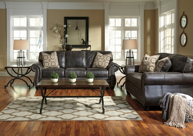 Breville Charcoal Traditional Living Room Furniture Set w/ Nailhead Trim