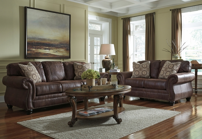 Breville Espresso Brown Traditional Living Room Set w/ Nailhead Trim