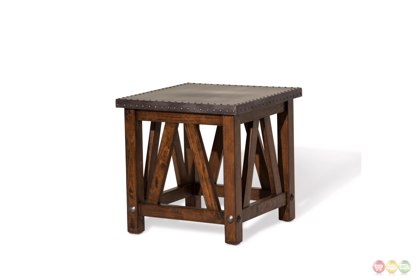 Brighton Rustic Cappuccino End Table With Metal Top