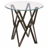 Bronze Accent Table with Round Bevel Glass Top
