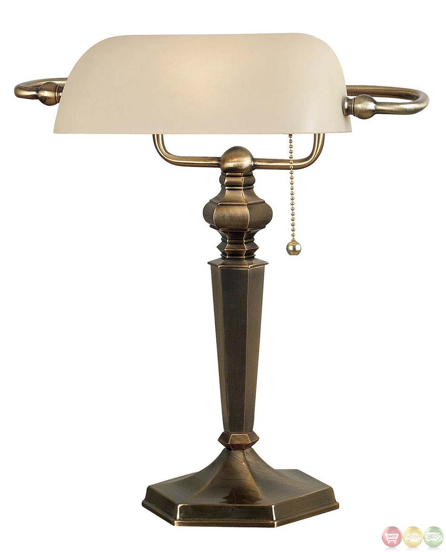 bronze finish mackinley pull chain switch banker lamp. Black Bedroom Furniture Sets. Home Design Ideas