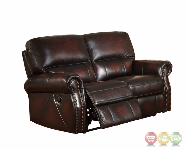 Brooklyn Burgundy Lay Flat Reclining Loveseat In Top Grain