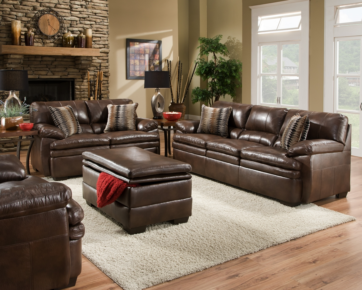 Brown Bonded Leather Sofa Set Casual Living Room Furniture W Accent Pillows