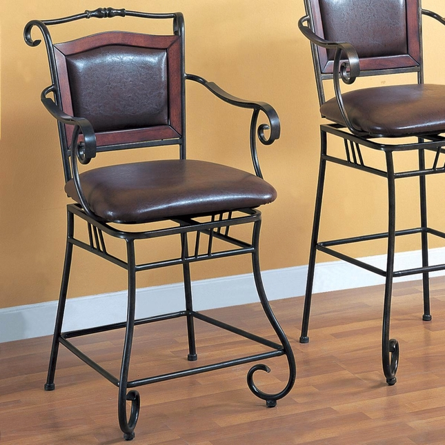 Brown Finish Traditional 24 Inch Robust Metal Bar Stool