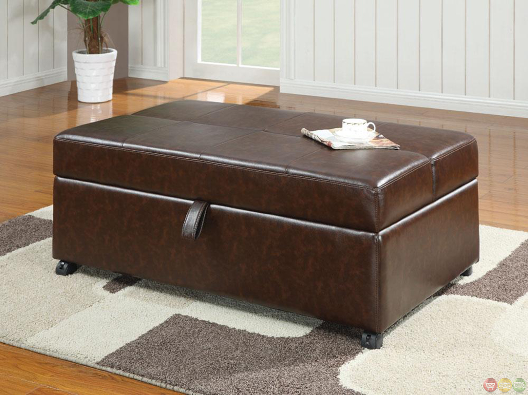 Brown Upholstered Casual Bench Ottoman W Pull Out Sleeper