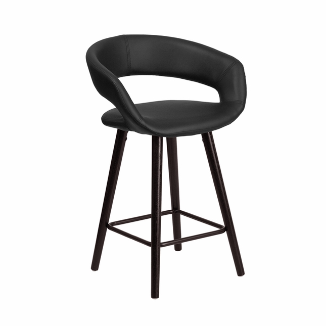 Brynn Contemporary Black Vinyl Counter Height Stool W/ Cappuccino Wood Frame