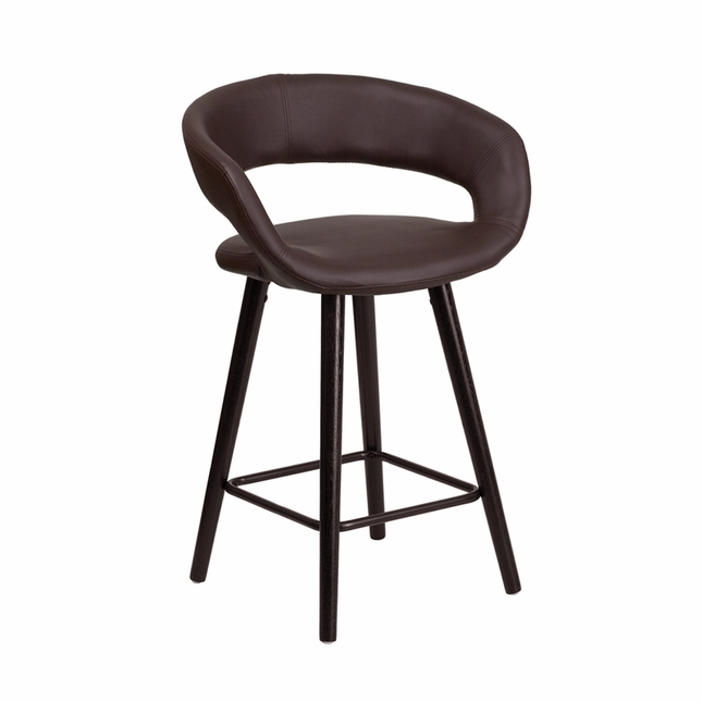 Brynn Contemporary Brown Vinyl Counter Height Stool W/ Cappuccino Wood Frame