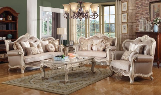 Buckingham Traditional Luxurious Whitewash Exposed Wood Living Room Set