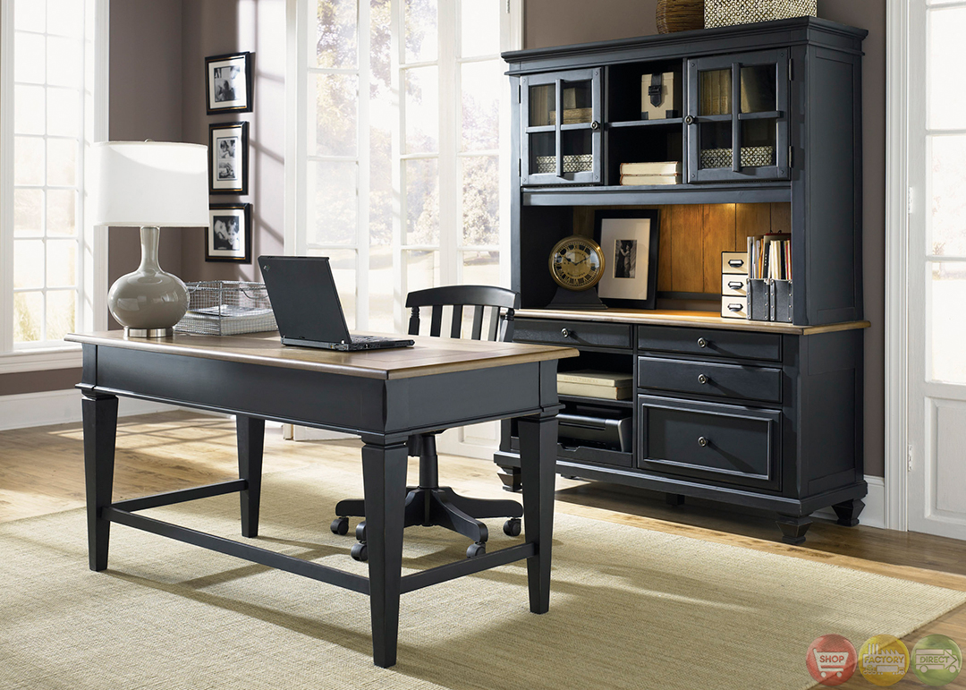 Hom Office Furniture: Bungalow Black Executive Home Office Furniture Desk Set