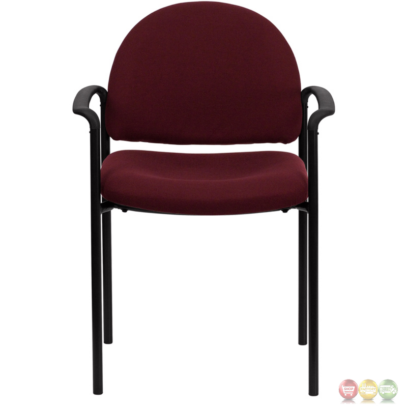 Burgundy Fabric fortable Stackable Steel Side Chair