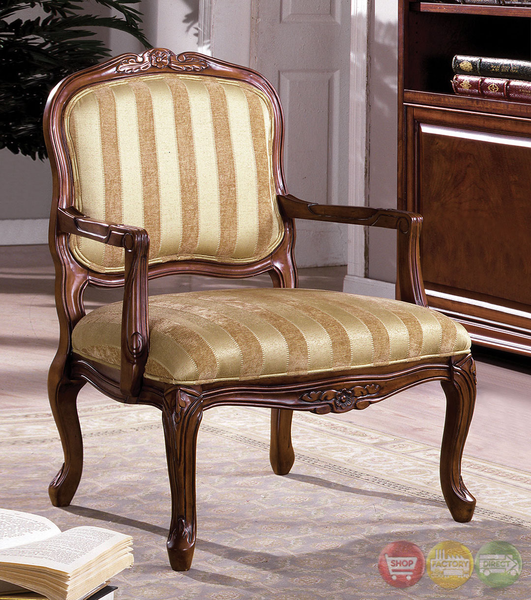 burnaby antique oak accent chair with hand carved wood