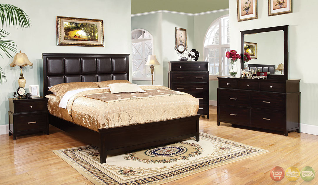 butler contemporary espresso bedroom set with leatherette headboard