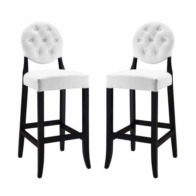 Button Modern Round Back Upholstered Tufted Bar Stool , White