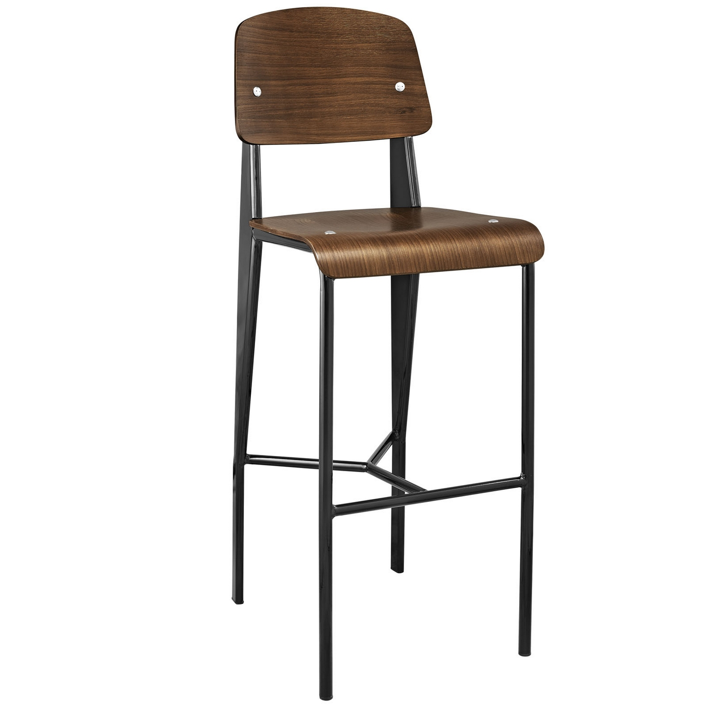 Cabin Contemporary Bentwood Back Bar Stool With Metal