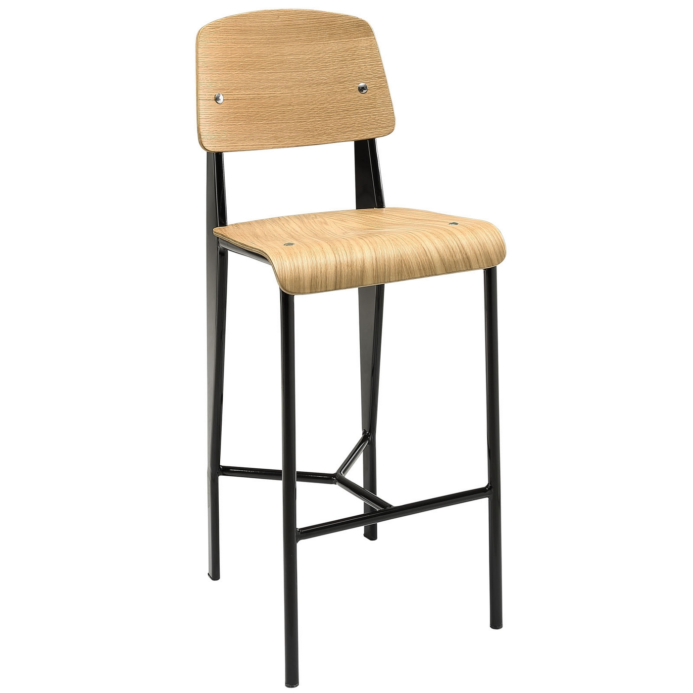 Cabin Contemporary Natural Wood Counter Stool With Black