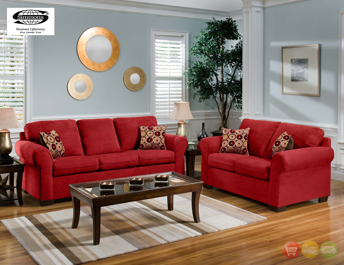 Cabot red microfiber sofa love seat casual living room for Furniture living room set