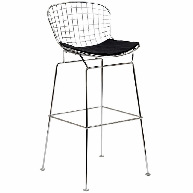 Cad Modernistic Wired Back Bar Stool In Chrome Finish, Black