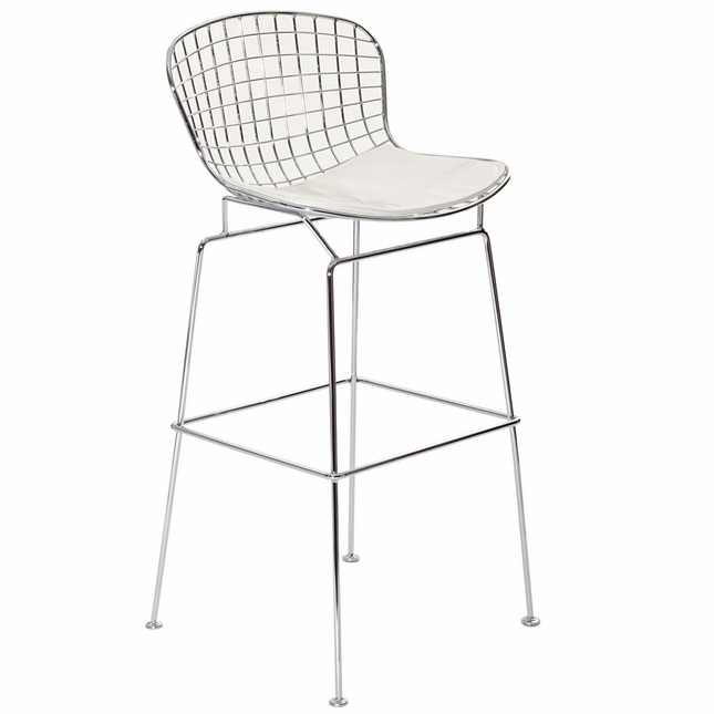 Cad Modernistic Wired Back Bar Stool In Chrome Finish, White