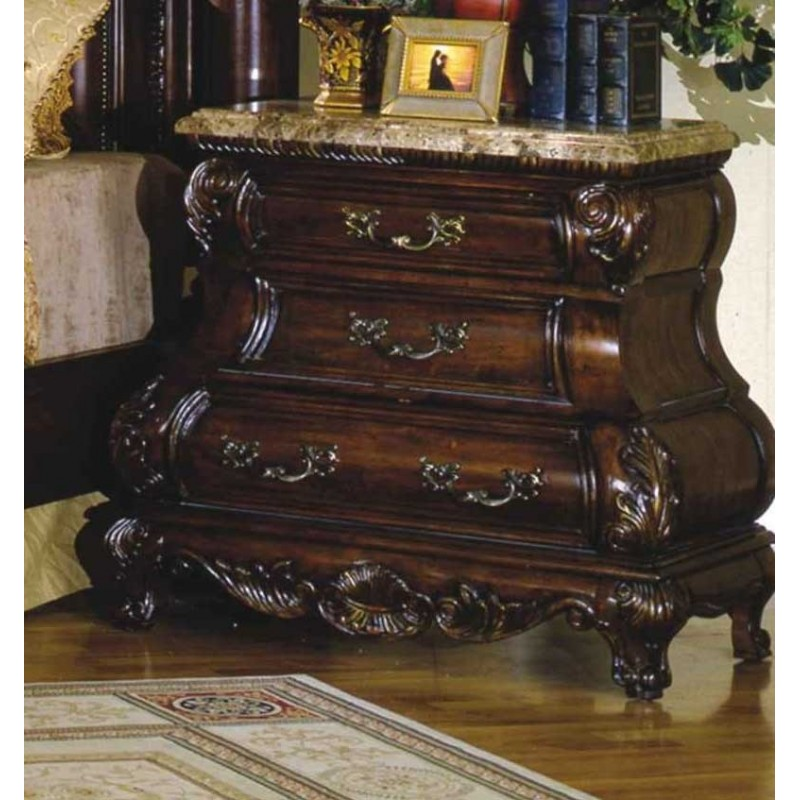 Caledonian Traditional Dark Brown Cherry 3 Drawer Bombe Nightstand With Marble Top