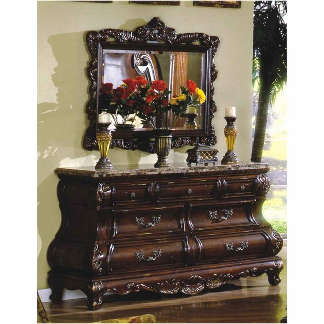 Caledonian Traditional Brown Cherry 7 Drawer Bombe Dresser & Mirror With Marble