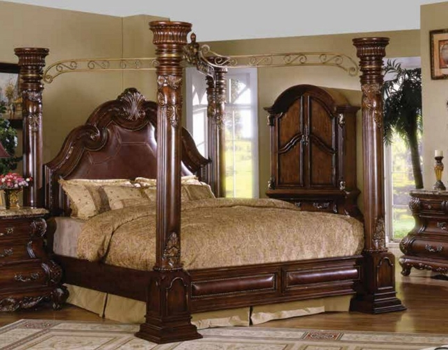 Caledonian Traditional Brown Cherry King Poster Canopy Bed With Leather Accents