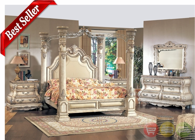Caledonian Victorian Inspired Antique White Poster Canopy Bed Luxury Bedroom Set