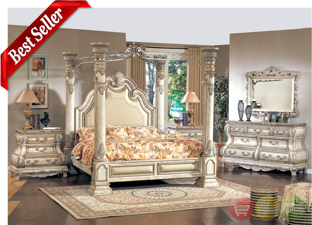 Caledonian Victorian Inspired Canopy Bedroom Set In Antique White Ameristeam10558