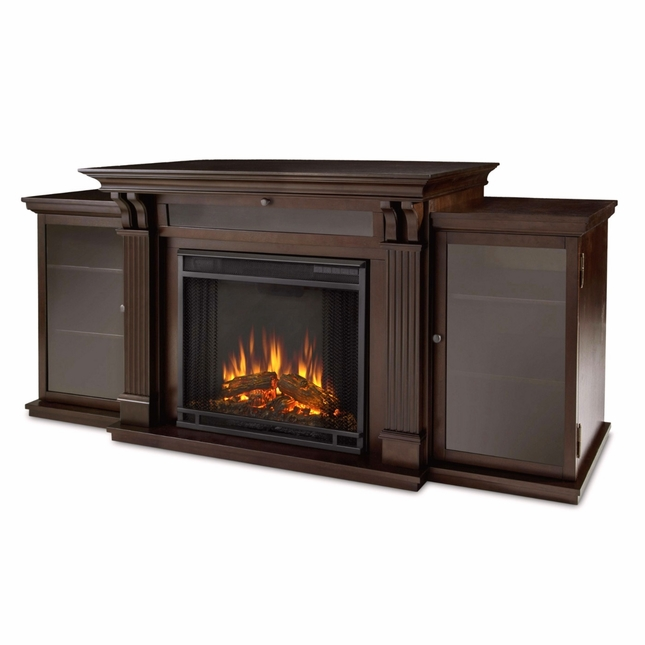 Calie Entertainment Center Electric LED Heater Fireplace In Walnut, 67x31