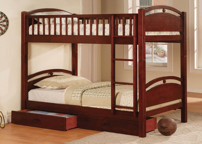 California I Cherry Bunk Bed with Two Drawers